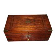 REDUCED Profusely Brass Inlaid English Regency Mahogany Travel Desk  & Rosewood Fitted Interio