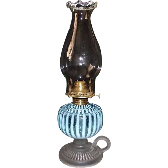 "Rare Hobbs Opalescent Blue & White Stripes ""Sheldon Swirl"" Finger Lamp with a Frosted Footed Base !!!  Ca. 1881."