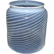 "REDUCED Mint Blown Optic 5 inch Cylindrical Glass ""White Swirls"" Shade made with Whi"