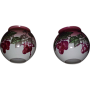 Rare Pair of Decorated Gas Shades with &quot;Cherries&quot; Pattern Ca. 1900 !!! Standard 3 3/