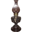 Large &quot; Peanut &quot; Pattern Oil Lamp with a Big Bulge Chimney & Queen Ann Burner !  Ca. 1911.