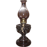 "Large "" Peanut "" Pattern Oil Lamp with a Big Bulge Chimney & Queen Ann Burner !  Ca."