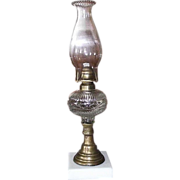 Triple Rare  &quot;Diamond Band & Fine Rib&quot; Pattern Oil Lamp with White Glass Base, & Flu