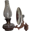 Economical Cast Iron Bracket Wall Arm  Oil Lamp with Flange Lip Burner & Chimney and complete with Reflector !  Ca. 1900.
