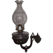 REDUCED Gothic Bracket Oil Lamp with 2 &quot;Night Owls&quot; on Wall Arm & Owl & Stars Big ..