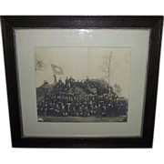 Large Photo of 54  Civil War Veterans from Post # 4  as seen in front of Devil's Den in Gettys