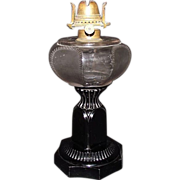 "REDUCED Findlay produced Crown Fount Pattern ""Crystal Lamp with Ebony Foot"" Oil Lamp"