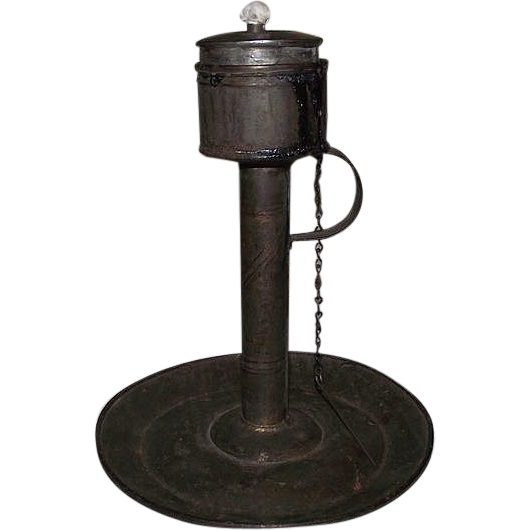 "Early American Tinsmith made ""Fat Lamp on Original Stand"" with attached Wick Pick Chain !!!"
