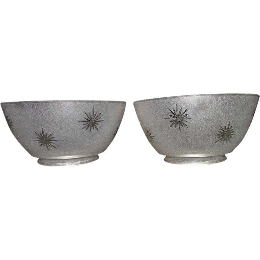 "Matching Pair of  Frosted ""Cut to Clear Starburst"" Patterns on Gas Shade with a 4 inch base Fitters !!!  Ca. 1900."