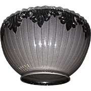 "Bevel Cut Top Edge Gas Shade with Back Frosted ""Clear Fleur"" Decorations with a stan"
