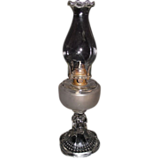 "Findlay ""Teardrop with Eyewinker Base & Frosted Fount"" Pattern Oil Lamp  & Pie Crust"