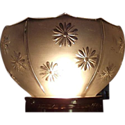 Near Mint Embossed &quot;Daisy Panels&quot; Pattern Glass Shade !!! Ca. 1900.