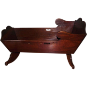 Colonial Pennsylvania Black Walnut Rocking Cradle with  Twin Cyma Curves on the Headboard & Fo
