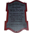 "Vintage ""Wilton Brass Co."" Wood Sign Advertising Armetale Mugs ! Circa 1963 to 1980."