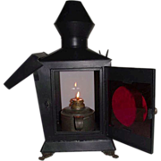 Civil War Period Darkroom Lantern with Negative Re-Touch & Inspection Glass !!!
