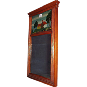 Sheraton Style Mirror with a Cracked Reverse Painted Top Glass. Ca.1870.