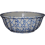Blue Sponge Decorated Stoneware Bowl !!! Ca. 1890.