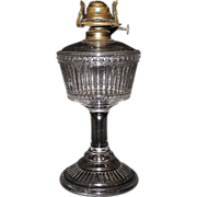 """Duncan Ribbed Band"" Pattern Oil Lamp with Big Bulge #1 Chimney !!!  Ca. 1893."