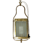 Electrified Gas Hall Lamp with Frosted Glass on 4 Sides !  Ca. 1900.