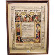 Pre-Civil War Pa. Dutch Birth & Baptismal Certificate �Geburts und Tauf = Schein�  for Anna Sp