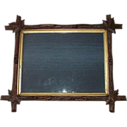 """Arts And Crafts Period"" Hand Carved Black Walnut Stick Picture Frame !!! Ca. """