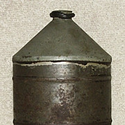 Tin & Pewter Flask With Leather Washer ! Ca.1890.