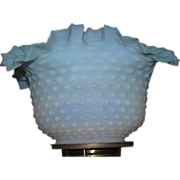 Satin Frosted Blue fading to White Hobnail Shade with Roller Coaster Top Ruffles !!! Ca. 1890 