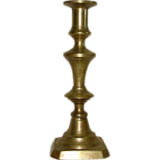 "19th Century Brass Candlestick with Wire Candle Stub Remover. Ca.1860    ""."