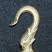 Original Cast Iron Dolphin Hook with Gold paint ! Ca. 1870