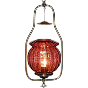 Electrified Gas Hall Light with a Cranberry Muffin Shade !!! Ca.1890