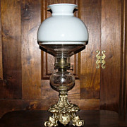 Rare Detailed Gargoyle Base Oil Lamp with Engraved Fount Ca.1860 !!!