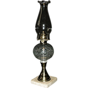 Civil War Period &quot;Flaming Bulls-Eye Pattern&quot; Oil Lamp Ca. 1860's complete with an ..