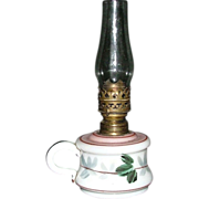 Bristol Miniature Oil Lamp with Grape & Vine Pattern On Fount ! Ca. 1900.