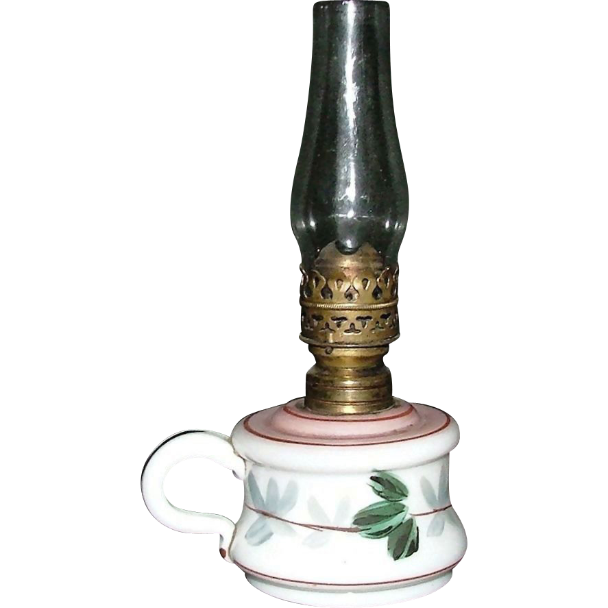 Bristol Miniature Oil Lamp With Quot Grape Leaf Quot Pattern With