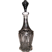 Civil War Period Tulip & Sawtooth  Pattern Flint Glass Quart Decanter with a mis-matched Blo
