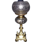 Semi-Frosted Glass Fount on a Four Cherub Headed Gothic Baroque Dietz Catalog 1860's Base, com