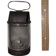 Rare Small Beveled Glass & Brass Hand Lantern Modeled after the Horse Drawn Omni-Buss Lamps of