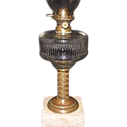 "Civil War Period Oil Lamp with 1 5/8 inch Flange Lip ""Van Kirk"" Burner and Chimney !"