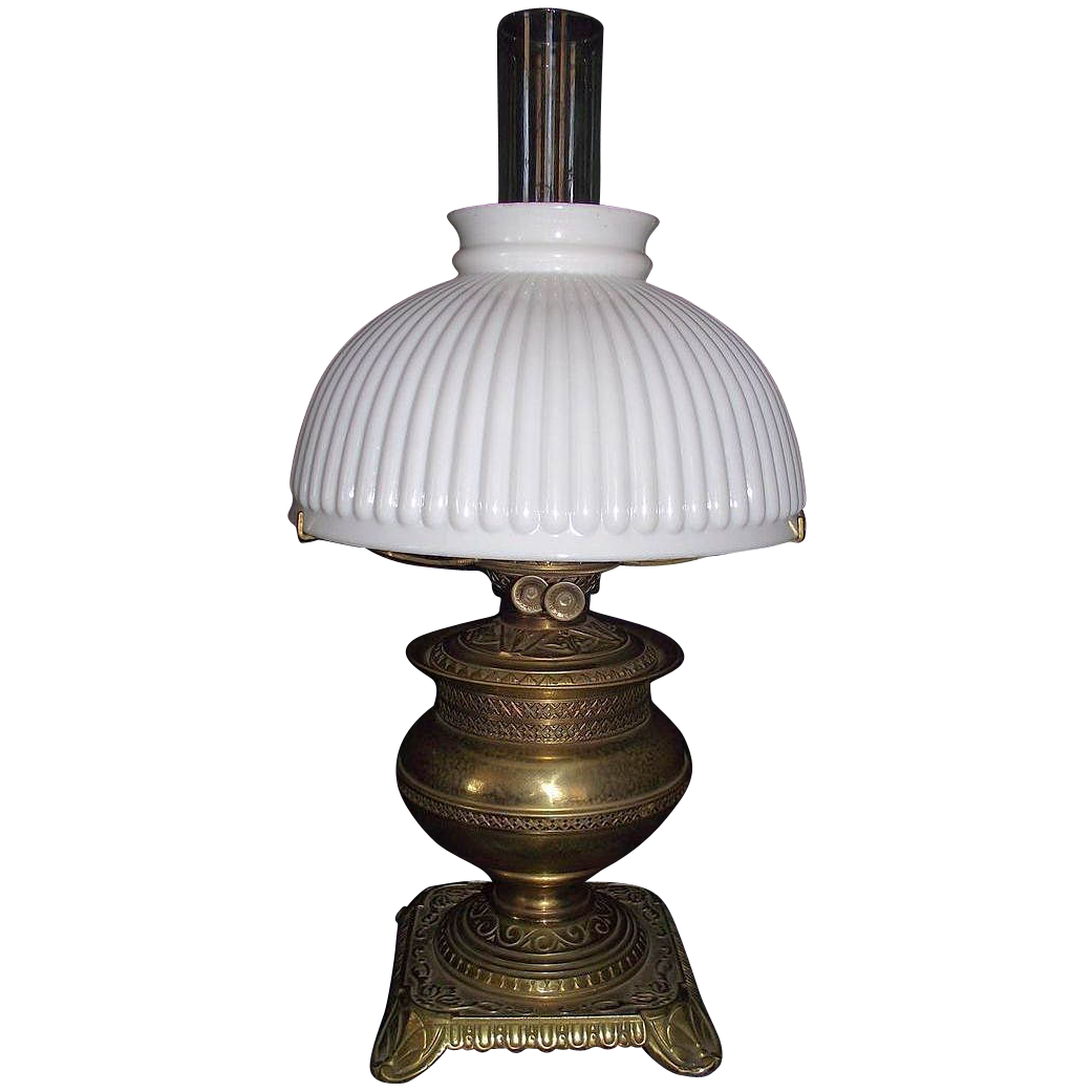 Brass table oil lamp with 10 inch white melon shade ca for 10 inch table lamp