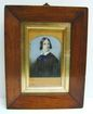 19th c. Mourning Woman Ivory Miniature in Large Walnut Frame