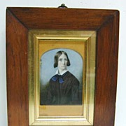 SALE 19th c. Mourning Woman Ivory Miniature in Large Walnut Frame