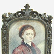 REDUCED 18th c. Miniature of Hogarth on Vellum in Exquisite Bronze Frame