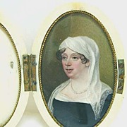 REDUCED 18th c. Woman in White Headdress - Miniature in Ivory Case