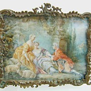 REDUCED Magnificent Large Format Ivory Miniature of Romantic 18th c. Scene