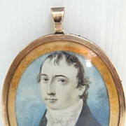 SALE 18th c. Ivory Miniature with Plaited Hair in 10K Gold Frame