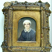 REDUCED Mrs. Baker - Ivory Miniature in Gesso Wood Frame
