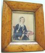 Large Miniature Watercolor of Seated Woman with Book