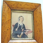 REDUCED Large Miniature Watercolor of Seated Woman with Book