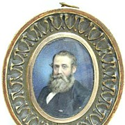 REDUCED Miniature Portrait on Ivory by Walter Barnard, 1876