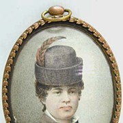 REDUCED Hungarian Miniature on Vellum - Woman with Feather in Hat
